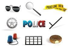 Insieme dell'icona di ordine & della polizia Fotografie Stock Libere da Diritti