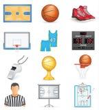 Insieme dell'icona di pallacanestro Immagini Stock