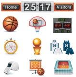 Insieme dell'icona di pallacanestro di vettore Immagine Stock