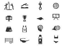 Insieme dell'icona di pallavolo illustrazione di stock