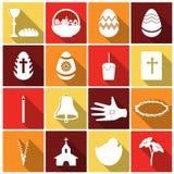 Insieme dell'icona di pasqua Illustrazione di vettore Fotografia Stock Libera da Diritti