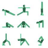 Insieme dell'icona di posa di yoga Illustrazione di vettore Fotografia Stock