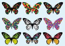 Insieme dell'icona di progettazione della farfalla Fotografia Stock