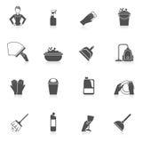 Insieme dell'icona di pulizia Fotografia Stock