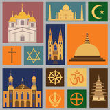 Insieme dell'icona di religione Fotografie Stock
