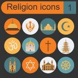 Insieme dell'icona di religione Immagine Stock