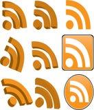 Insieme dell'icona di RSS isolato su bianco fotografia stock libera da diritti