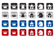 Insieme dell'icona di scacchi Immagine Stock