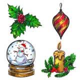 Insieme dell'icona di schizzo di Natale illustrazione vettoriale