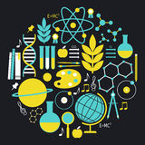 Insieme dell'icona di scienza e di formazione Immagini Stock