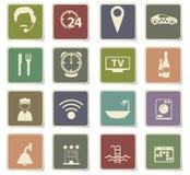 Insieme dell'icona di servizi di camera di albergo Immagini Stock Libere da Diritti