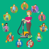 Insieme dell'icona di servizio di pulizia Fotografia Stock Libera da Diritti