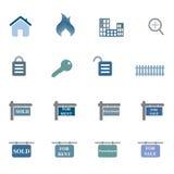 Insieme dell'icona di simboli del bene immobile Fotografie Stock Libere da Diritti