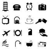 Insieme dell'icona di simboli dell'hotel Fotografia Stock Libera da Diritti