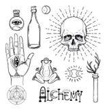 Insieme dell'icona di simbolo di alchemia Spiritualità, occultismo, chimica, MAG royalty illustrazione gratis