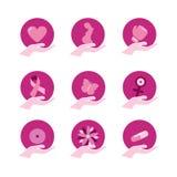 Insieme dell'icona di sostegno di rosa di consapevolezza del cancro al seno Fotografie Stock Libere da Diritti