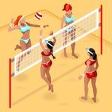 Insieme dell'icona di sport del giocatore di pallavolo della spiaggia Beach volley isometrico di Olympics 3D Scarica internaziona Immagine Stock
