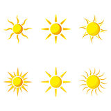 Insieme dell'icona di Sun di vettore Fotografie Stock Libere da Diritti