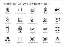 Insieme dell'icona di sviluppo di software Vector i simboli da usare per sviluppo di software e tecnologia dell'informazione Fotografie Stock Libere da Diritti