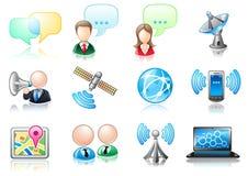 Insieme dell'icona di tema di comunicazione Immagini Stock