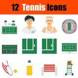 Insieme dell'icona di tennis Immagine Stock