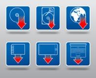 Insieme dell'icona di trasferimento dal sistema centrale verso i satelliti Immagine Stock