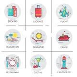 Insieme dell'icona di trasporto di turismo di giro di viaggio del bus di crociera di volo royalty illustrazione gratis