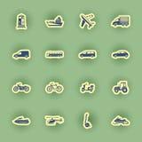 Insieme dell'icona di trasporto isolato su verde Fotografia Stock