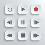 Insieme dell'icona di ui del bottone di controllo del lettore multimediale Immagini Stock Libere da Diritti