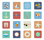Insieme dell'icona di vacanza della spiaggia di estate Immagine Stock