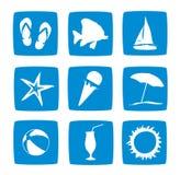 Insieme dell'icona di vacanze di estate Fotografia Stock