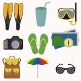 Insieme dell'icona di vacanze estive Immagini Stock Libere da Diritti