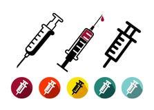 Insieme dell'icona di vaccinazione nella linea stile sottile d'avanguardia, progettazione piana Simbolo medico per la vostra prog Fotografia Stock