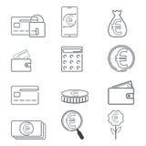 Insieme dell'icona di valuta di Eruo e di finanza Illustrazione al tratto semplice Fotografia Stock Libera da Diritti