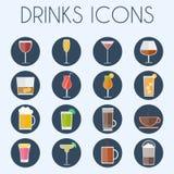 Insieme dell'icona di vetro di cocktail delle bevande Fotografia Stock Libera da Diritti