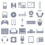 Insieme dell'icona di vettore degli aggeggi e dei dispositivi di media del computer Immagine Stock