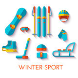 Insieme dell'icona di vettore degli sport invernali Progettazione piana Fotografia Stock