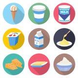 Insieme dell'icona di vettore dei prodotti lattiero-caseari Fotografie Stock Libere da Diritti
