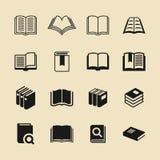 Insieme dell'icona di vettore del negozio di libro e delle biblioteche Fotografia Stock Libera da Diritti