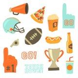Insieme dell'icona di vettore del partito del Super Bowl Icone di celebrazione dei giochi di sport Stile dell'annata di football  illustrazione di stock