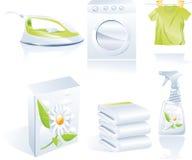 Insieme dell'icona di vettore della lavanderia a secco Fotografia Stock