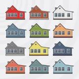 Insieme dell'icona di vettore delle case urbane Fotografie Stock Libere da Diritti
