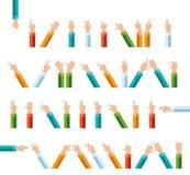 Insieme dell'icona di vettore di gesto del dito della mano del profilo Fotografia Stock