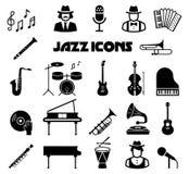 Insieme dell'icona di vettore di jazz Immagini Stock Libere da Diritti