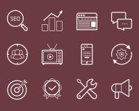 Insieme dell'icona di vettore di Seo, dello smm, di sviluppo e di vendita Immagine Stock