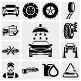 Insieme dell'icona di vettore di servizio dell'automobile. Immagini Stock