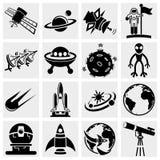 Insieme dell'icona di vettore di spazio Fotografie Stock Libere da Diritti