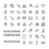 Insieme dell'icona di vettore di gravidanza, di fecondazione e di maternità Ginecologia, linea sottile icone di sanità di parto m Immagine Stock Libera da Diritti