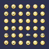 Insieme dell'icona di vettore di smiley Pittogrammi degli emoticon Fotografia Stock Libera da Diritti