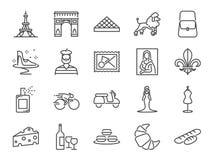 Insieme dell'icona di viaggio della Francia Ha compreso le icone come pane inzuppato in latte/uova e zucchero e fritto in padella illustrazione di stock